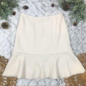 J. Crew Cream Tweed Ruffle Hem Skirt